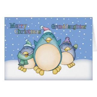 Carte de Noël de petite-fille avec des pingouins
