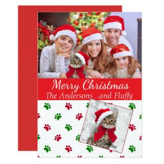 Carte de Noël de photo d'animal familier avec des