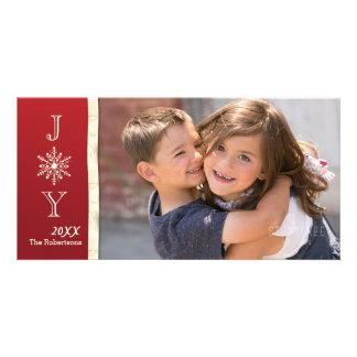 Carte de Noël de photo de flocon de neige de joie