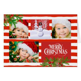 Carte de Noël de photo de rayure de sucre de canne