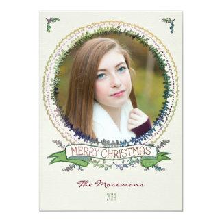 Carte de Noël de photo de vignes d'aquarelle