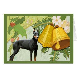 Carte de Noël de Pinscher de dobermann Bells