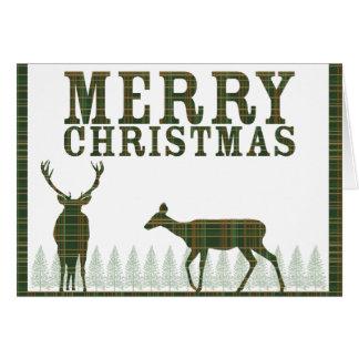 Carte de Noël de plaid de cerfs communs et de pin