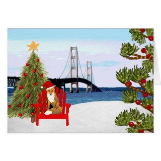 Carte de Noël de pont de Mackinac avec la chaise