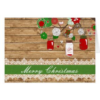 Carte de Noël de pot de maçon de Noël