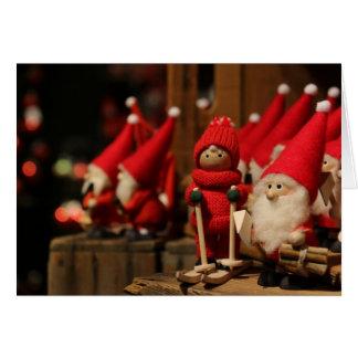 Carte de Noël de poupées de ski de jouet de Père