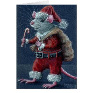 Carte de Noël de rat de Père Noël