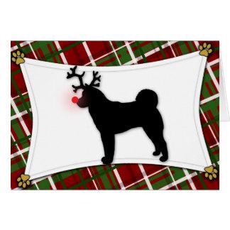 Carte de Noël de renne d'Akita