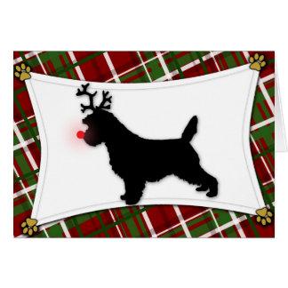 Carte de Noël de renne de Terrier de cairn