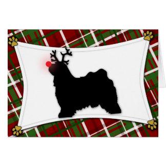 Carte de Noël de renne de Terrier tibétain