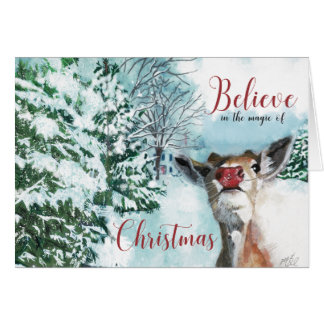 Carte de Noël de Rudolph de bébé - croyez