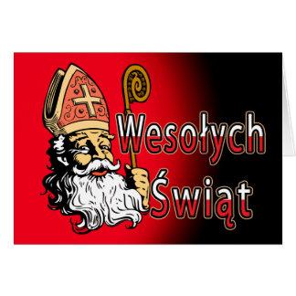 Carte de Noël de Saint-Nicolas Wesolych Swiat