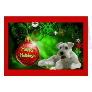 Carte de Noël de Schnauzer miniature bonnes fêtes