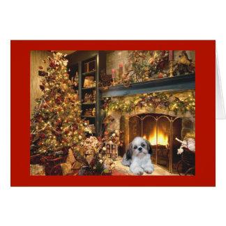Carte de Noël de Shih Tzu Fireplace1