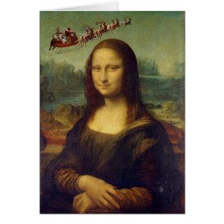 Carte de Noël de Sleigh de Mona Lisa Père Noël