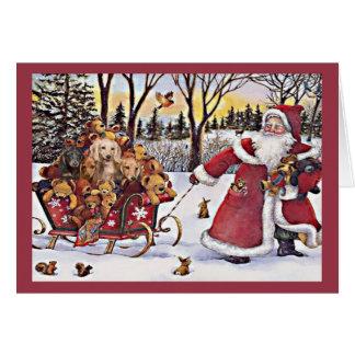 Carte de Noël de teckel Père Noël Bears2