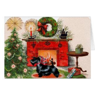 Carte de Noël de Terrier de cheminée et d'écossais