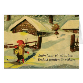 Carte de Noël de Tomten avec le poème de Viktor