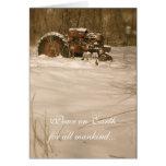 Carte de Noël de tracteur : Paix pour tous les vie
