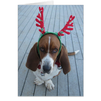 Carte de Noël de vacances de basset de renne