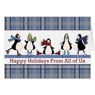 Carte de Noël de vacances de groupe de patinage de