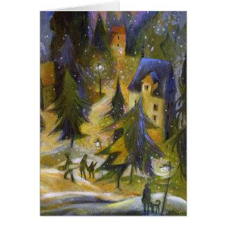 Carte de Noël de village de ski