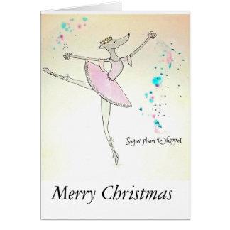 Carte de Noël de whippet de Sucre-Prune