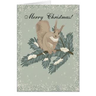 Carte de Noël d'écureuil de pays