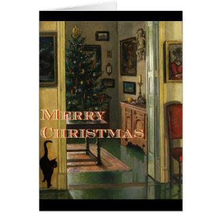Carte de Noël démodée avec un chat noir