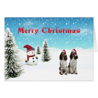 Carte de Noël d'épagneul de springer anglais