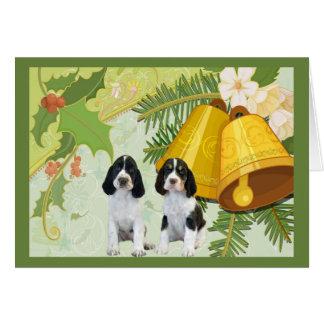 Carte de Noël d'épagneul de springer anglais Bells