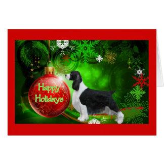 Carte de Noël d'épagneul de springer anglais Holi