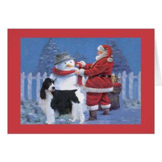 Carte de Noël d'épagneul de springer anglais Père