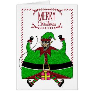 Carte de Noël - diable Elf