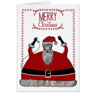 Carte de Noël - diable Père Noël