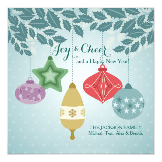 Carte de Noël d'ornement de houx Carton D'invitation