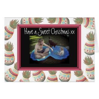 Carte de Noël douce de photo de famille avec des