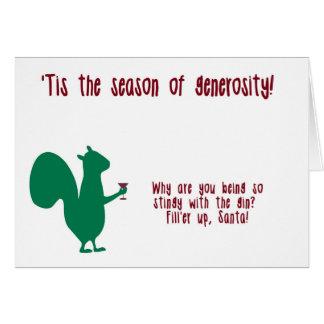 Carte de Noël drôle avec l'écureuil et le genièvre