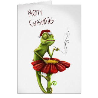 Carte de Noël drôle de caméléon