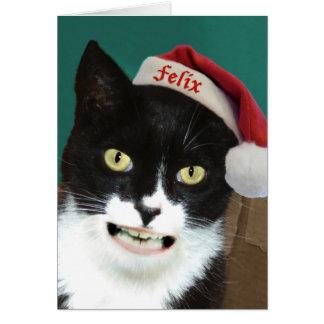 Carte de Noël drôle de chat