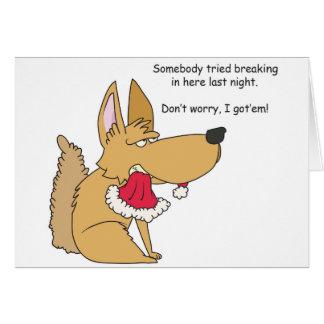 Carte de Noël drôle de chien