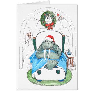 Carte de Noël drôle de faune de morse et d'igloo