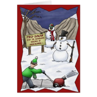 Carte de Noël drôle de souffleuse de neige de