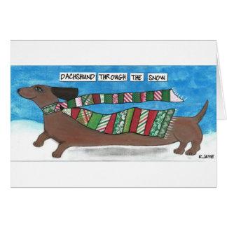 Carte de Noël drôle de teckel pour des amoureux de