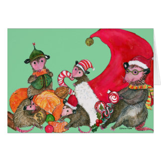 Carte de Noël drôle d'opossums, se régalant des