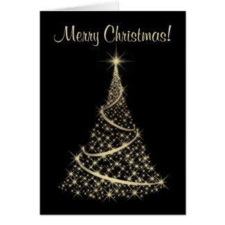 Carte de Noël élégante de noir et d'or