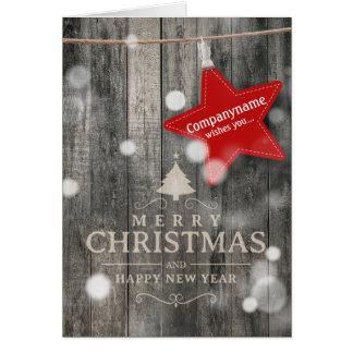 Carte de Noël en bois foncée chaude d'affaires