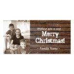 Carte de Noël en bois foncée de photo Photocartes