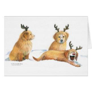 Carte de Noël espiègle de chiots