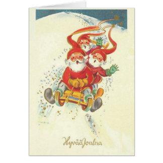 Carte de Noël finlandaise vintage de Père Noël